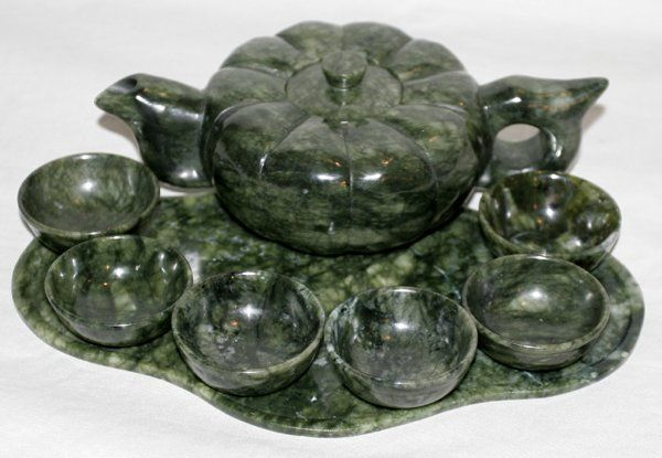091251: CHINESE CARVED JADE TEA SET EIGHT PIECES