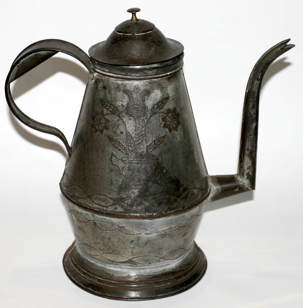 091412: PENNSYLVANIA TOLE COFFEE POT 19TH CENTURY H12""