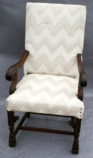 090577A: ENGLISH CARVED WALNUT OPEN ARM CHAIR