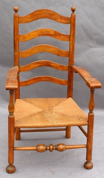 090580A: LIGHTLY STAINED CHERRY & HICKORY ARM CHAIR