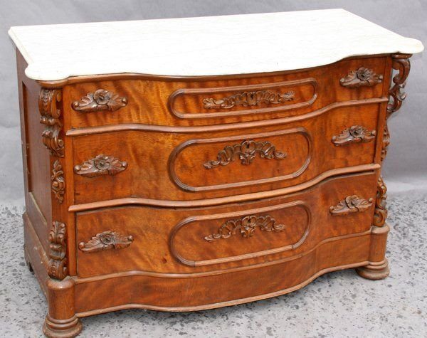 090593A: VICTORIAN CARVED WALNUT MARBLE TOP DRESSER