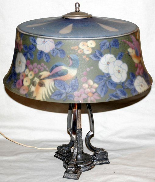 090001: PAIRPOINT SIGNED REVERSE PAINTED LAMP C.1910