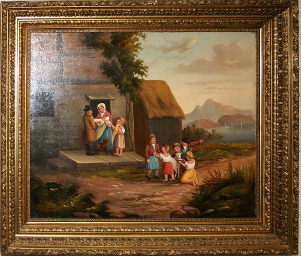 090012: OIL ON CANVAS, COTTAGE SCENE W/ FAMILY