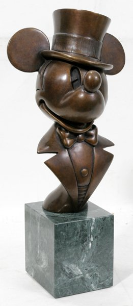 090022: CHILMARK BRONZE/MARBLE MICKEY MOUSE SCULPTURE