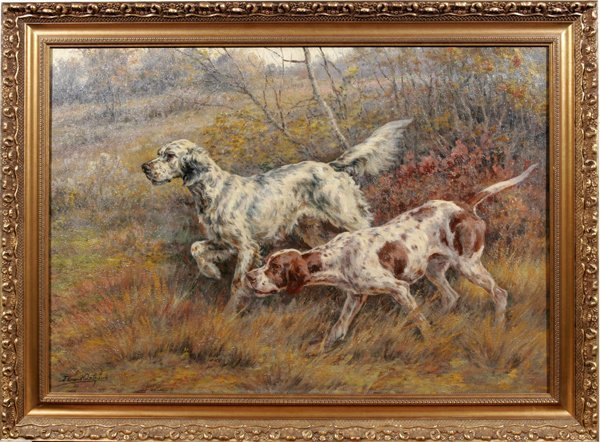 092001: EDMUND H. OSTHAUS OIL ON CANVAS, HUNTING DOGS