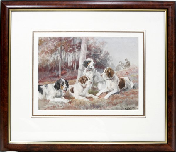 092003: EDMUND OSTHAUS WATERCOLOR, SPORTING DOGS