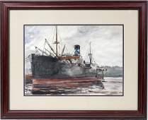 092005: REGINALD MARSH WATERCOLOR ON PAPER, 'SHIP'