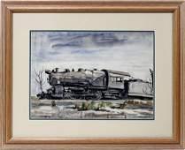 092006: REGINALD MARSH WATERCOLOR ON PAPER, 'TRAIN'