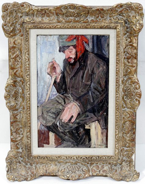 092016: LEON S. GASPARD OIL ON BOARD, SEATED SOLDIER