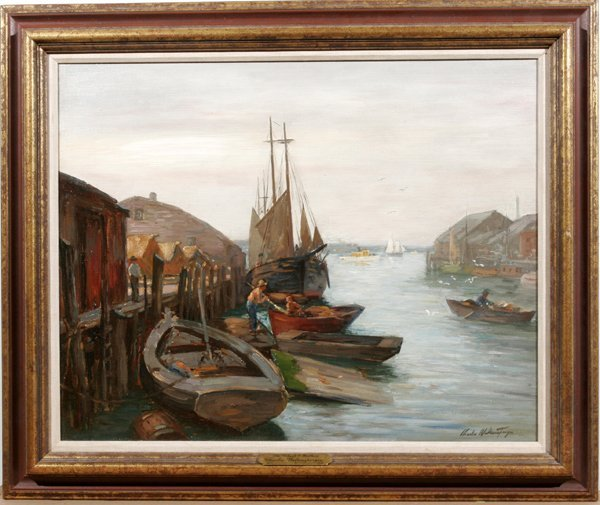 092017: CHARLES WALTENSPERGER OIL ON CANVAS OLD WHARFS
