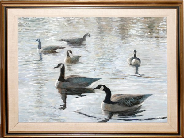 092021: JANCE LENTZ OIL ON CANVAS, 'CANADA GEESE NO.2""
