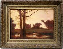 092023 GEORGE INNESS OIL ON CANVAS 10 X14 LANDSCAPE