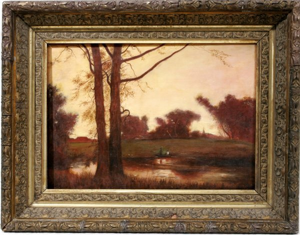"092023: GEORGE INNESS OIL ON CANVAS 10"" X14"" LANDSCAPE"