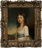092032 GEORGE ROMNEY OIL ON CANVAS FRANCES KINDERSLEY