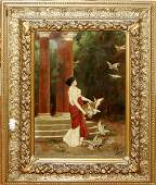 092075: L. ZULLE OIL ON CANVAS, YOUNG GIRL IN GARDEN