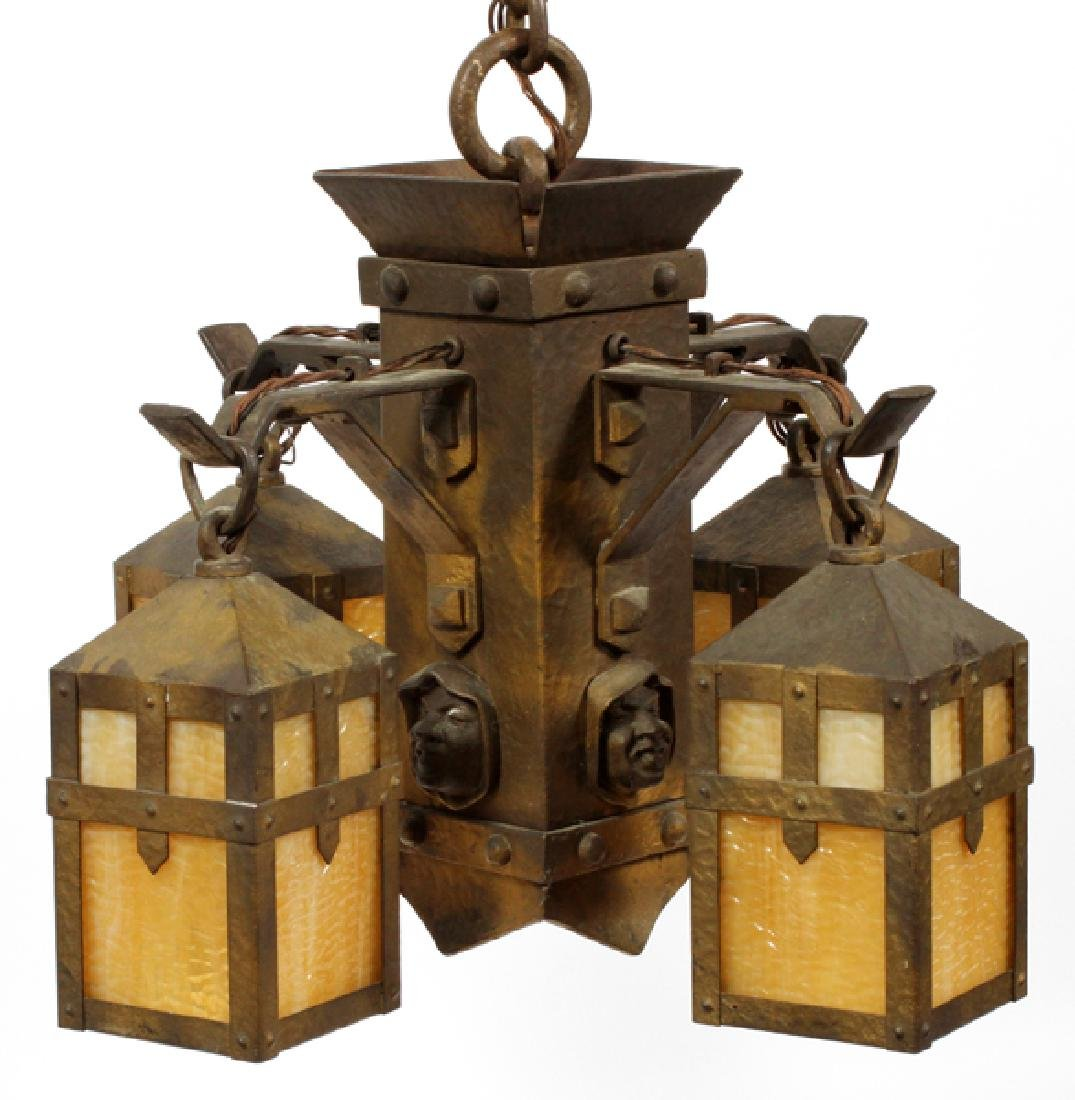 AMERICAN ARTS & CRAFTS BRASS CHANDELIER