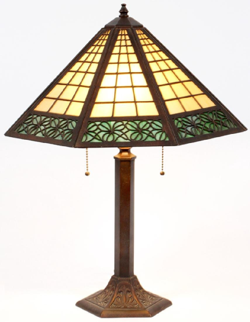 ATTRIB. TO BRADLEY & HUBBARD SLAG GLASS TABLE LAMP
