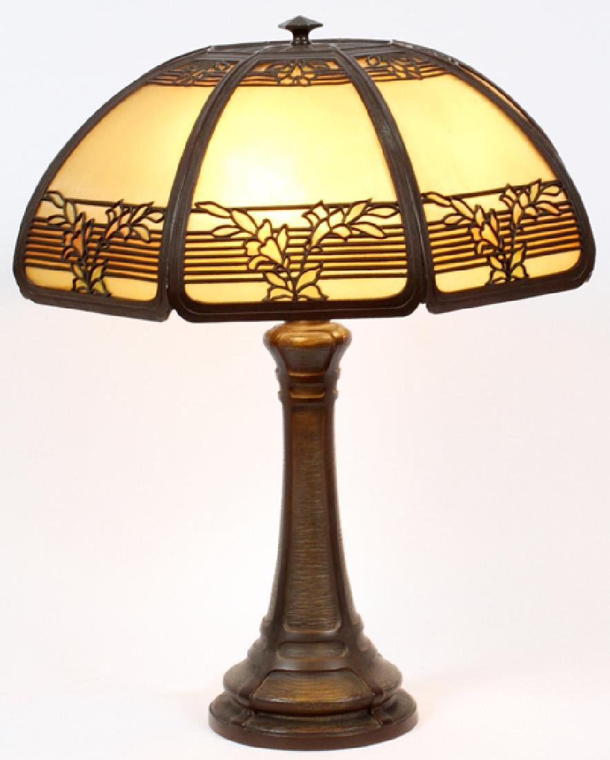 BRADLEY AND HUBBARD BRONZE AND GLASS TABLE LAMP