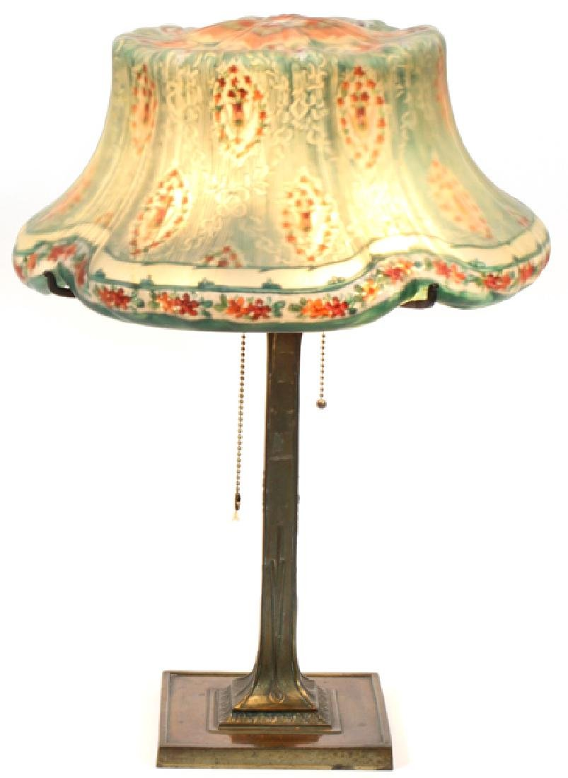 PAIRPOINT REVERSE PAINTED SHADE LAMP & BASE