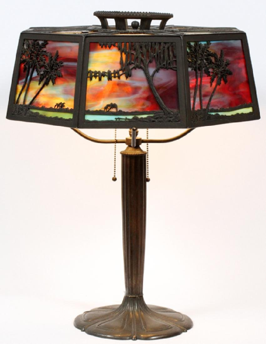 BRADLEY & HUBBARD TROPICAL SUNSET TABLE LAMP