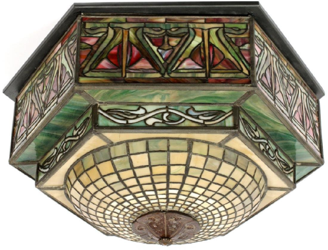 AMERICAN LEADED GLASS CEILING LIGHT SHADE