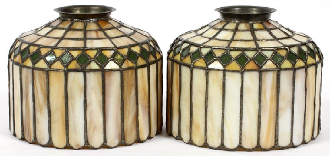ATTRIB. TO HANDEL PAIR OF LEADED GLASS SHADES