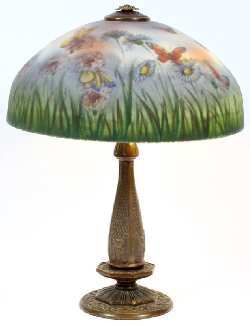 REVERSE PAINTED GLASS LAMP CIRCA 1920