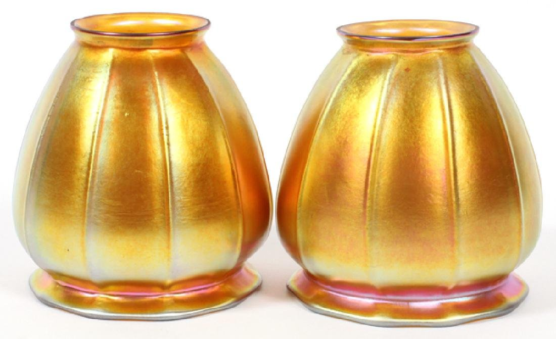 PAIR OF STEUBEN AURENE GLASS SHADES EARLY 20TH C.