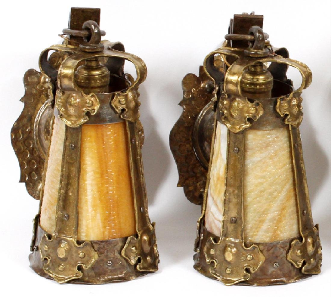 PAIR OF ARTS & CRAFTS LANTERN SCONCES EARLY 20TH C.