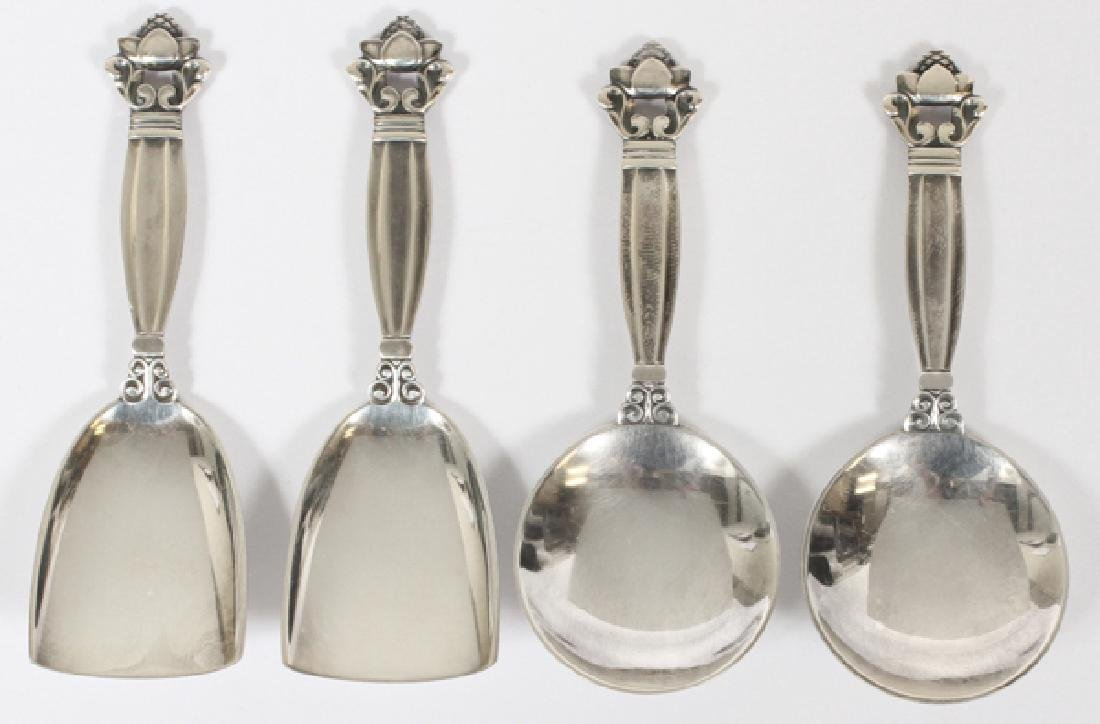 GEORG JENSEN 'ACORN' STERLING SERVING ARTICLES FOUR