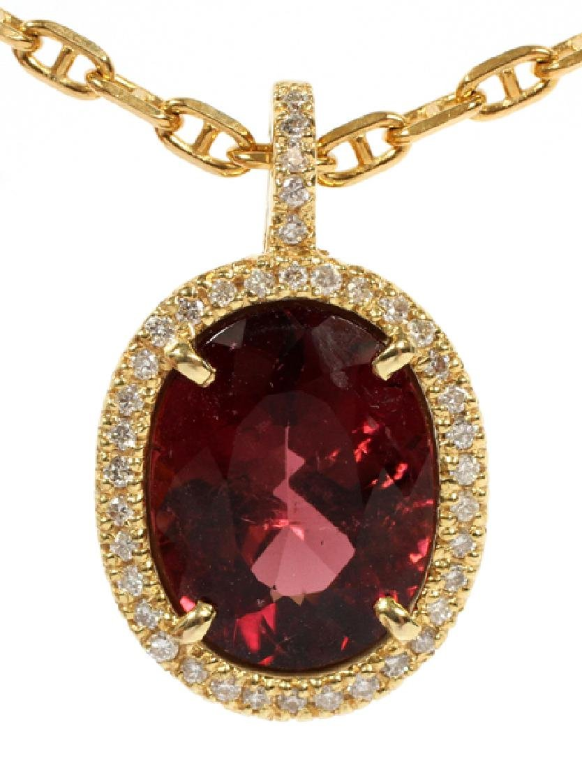9.40CT RED TOURMALINE AND 14KT YELLOW GOLD NECKLACE