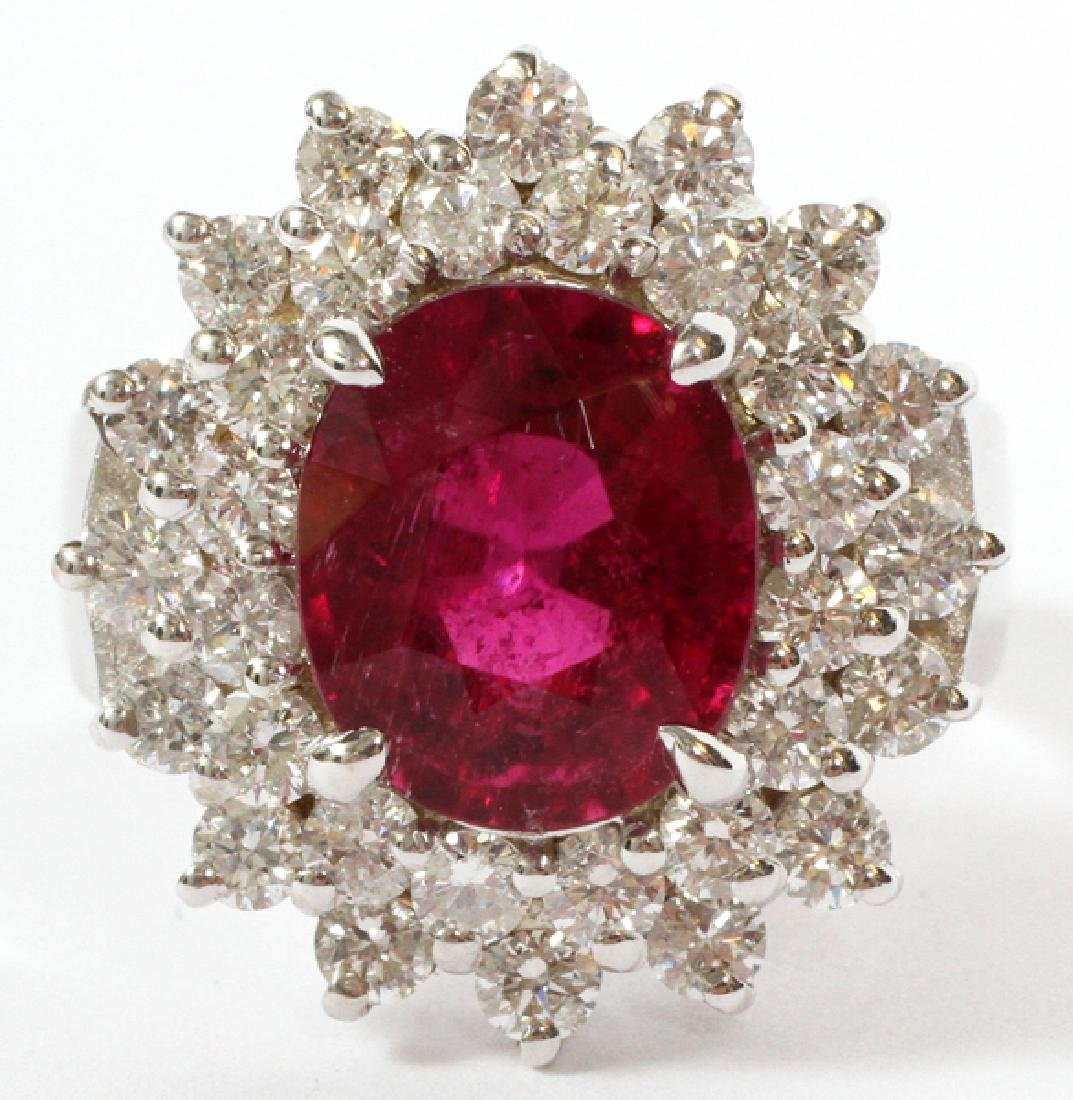 4.20CT RED-PINK TOURMALINE AND DIAMOND RING