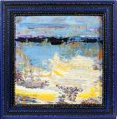 F. WOLOK MODERN OIL ON CANVAS ABSTRACT LANDSCAPE