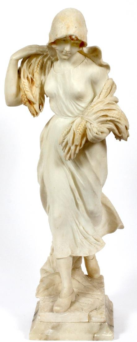 ITALIAN CARVED MARBLE FIGURE OF A STANDING WOMAN