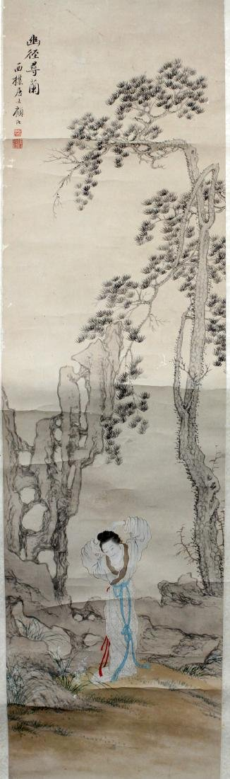 KU LE CHINESE PAINTED SCROLL 19TH C