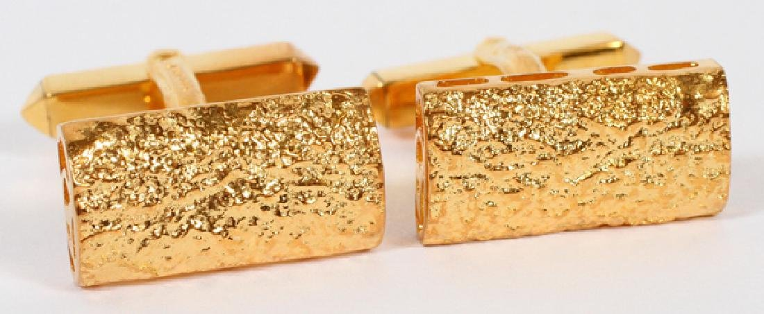 18KT YELLOW GOLD NUGGET CUFF LINKS PAIR