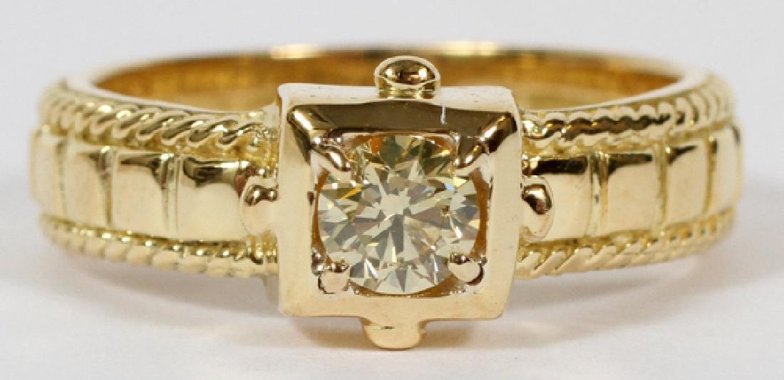 0.30CT NATURAL FANCY YELLOW ROUND DIAMOND RING