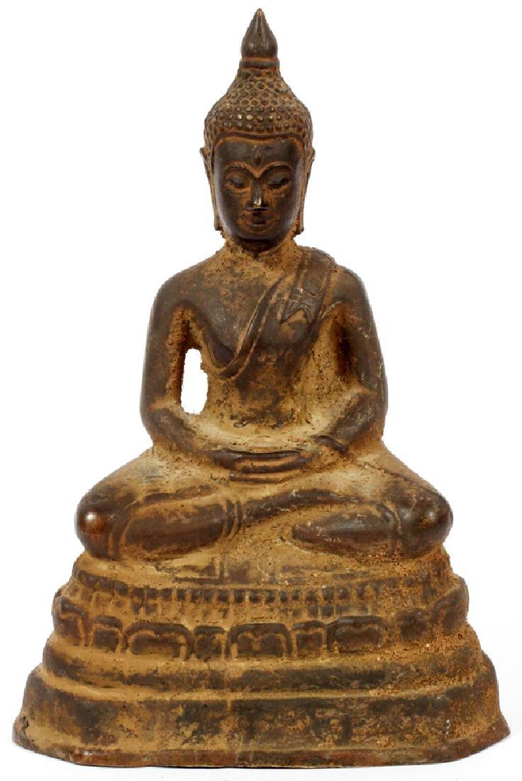 THAI BRONZE SEATED FIGURE OF BUDDHA IN MEDITATION
