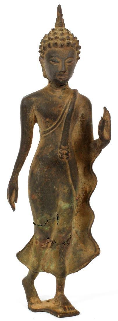 THAI BRONZE FIGURE OF A WALKING BUDDHA