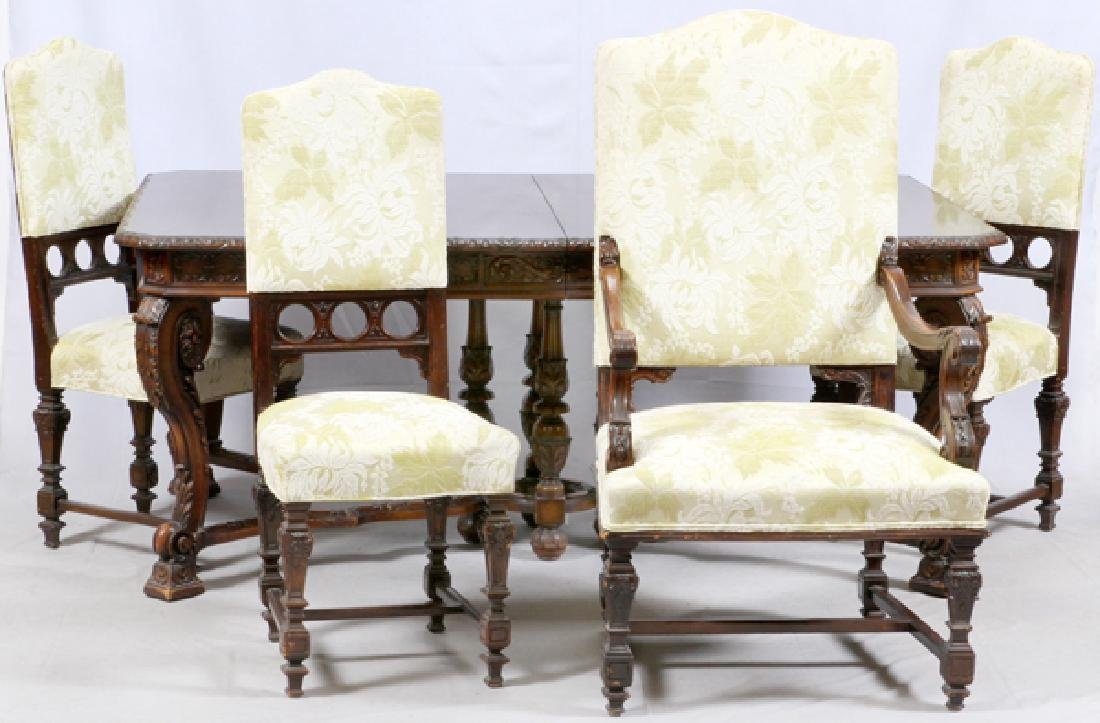 ROCOCO REVIVAL CARVED WALNUT DINING SUITE C. 1900