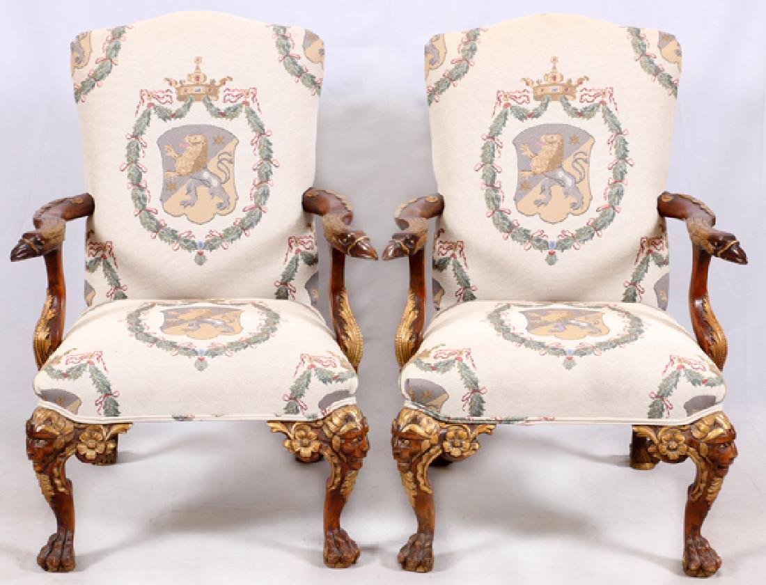 PAIR OF CHIPPENDALE STYLE CARVED WALNUT ARMCHAIRS