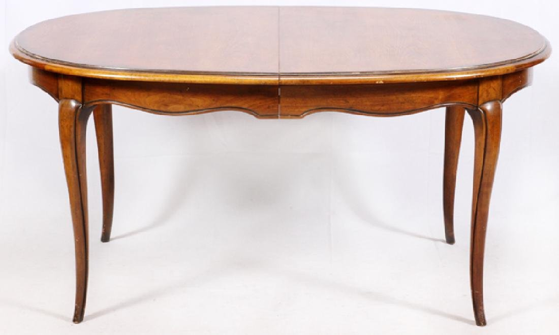 BODART OVAL WALNUT DINING TABLE AND TWO LEAVES