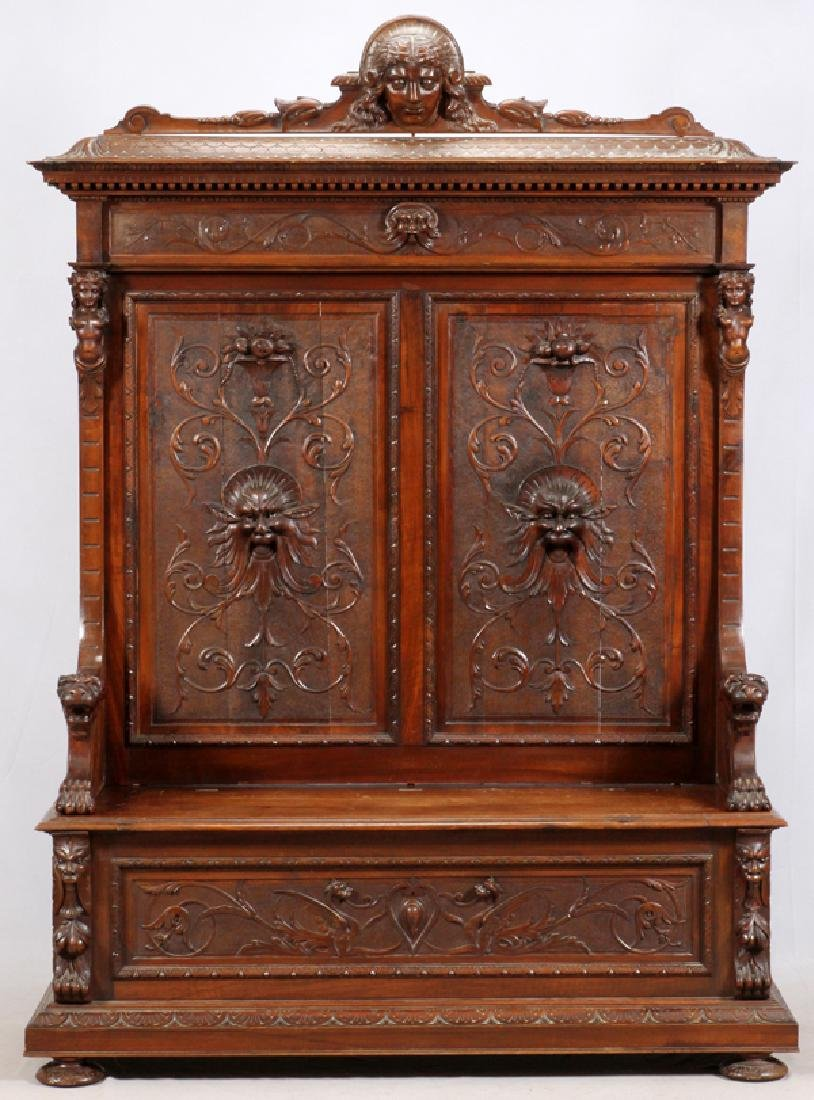 RENAISSANCE REVIVAL STYLE CARVED WALNUT HALL SEAT