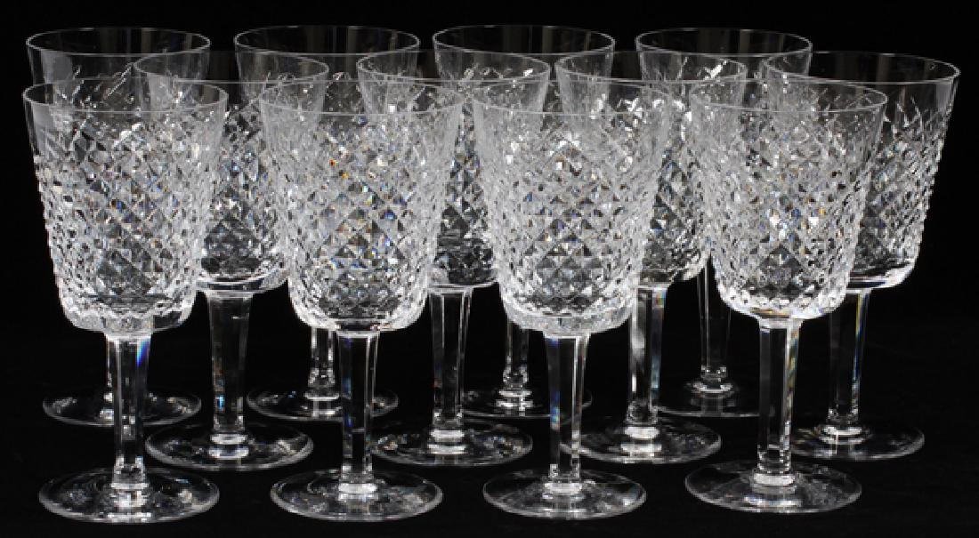 WATERFORD 'ALANA' CRYSTAL WATER GOBLETS SET OF 12