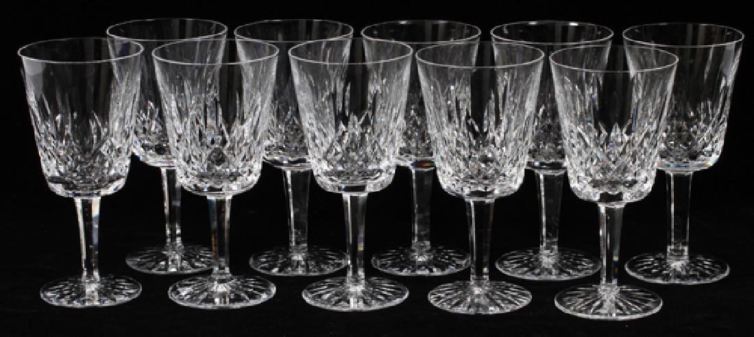 WATERFORD 'LISMORE' CRYSTAL WATER GOBLETS SET OF 10