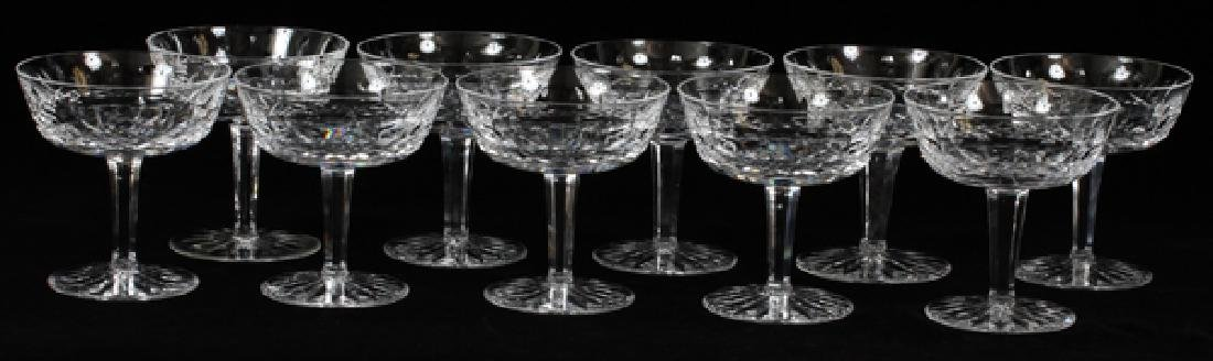 WATERFORD 'LISMORE' CRYSTAL CHAMPAGNES SET OF 10