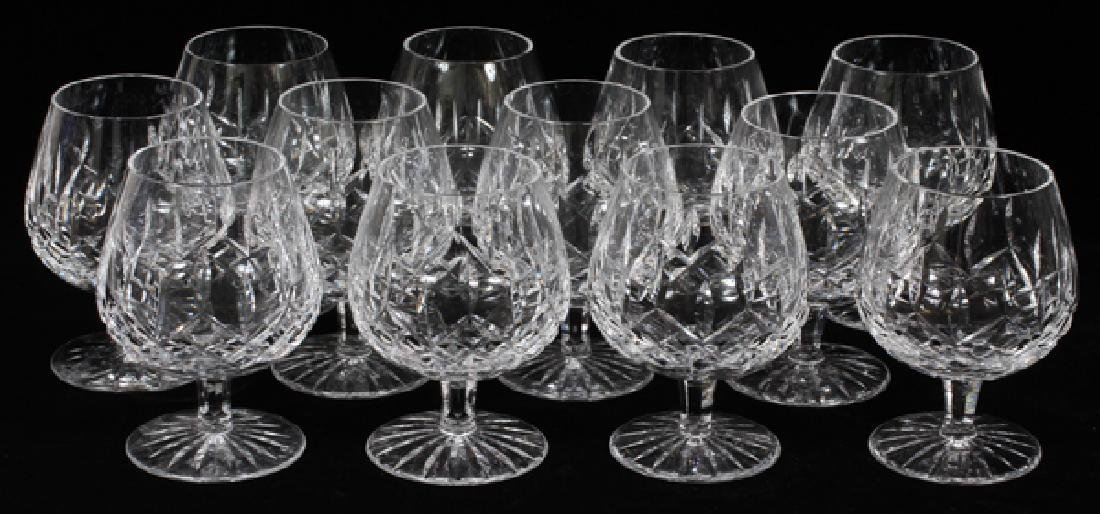 WATERFORD 'LISMORE' CRYSTAL BRANDY SNIFTERS, 12