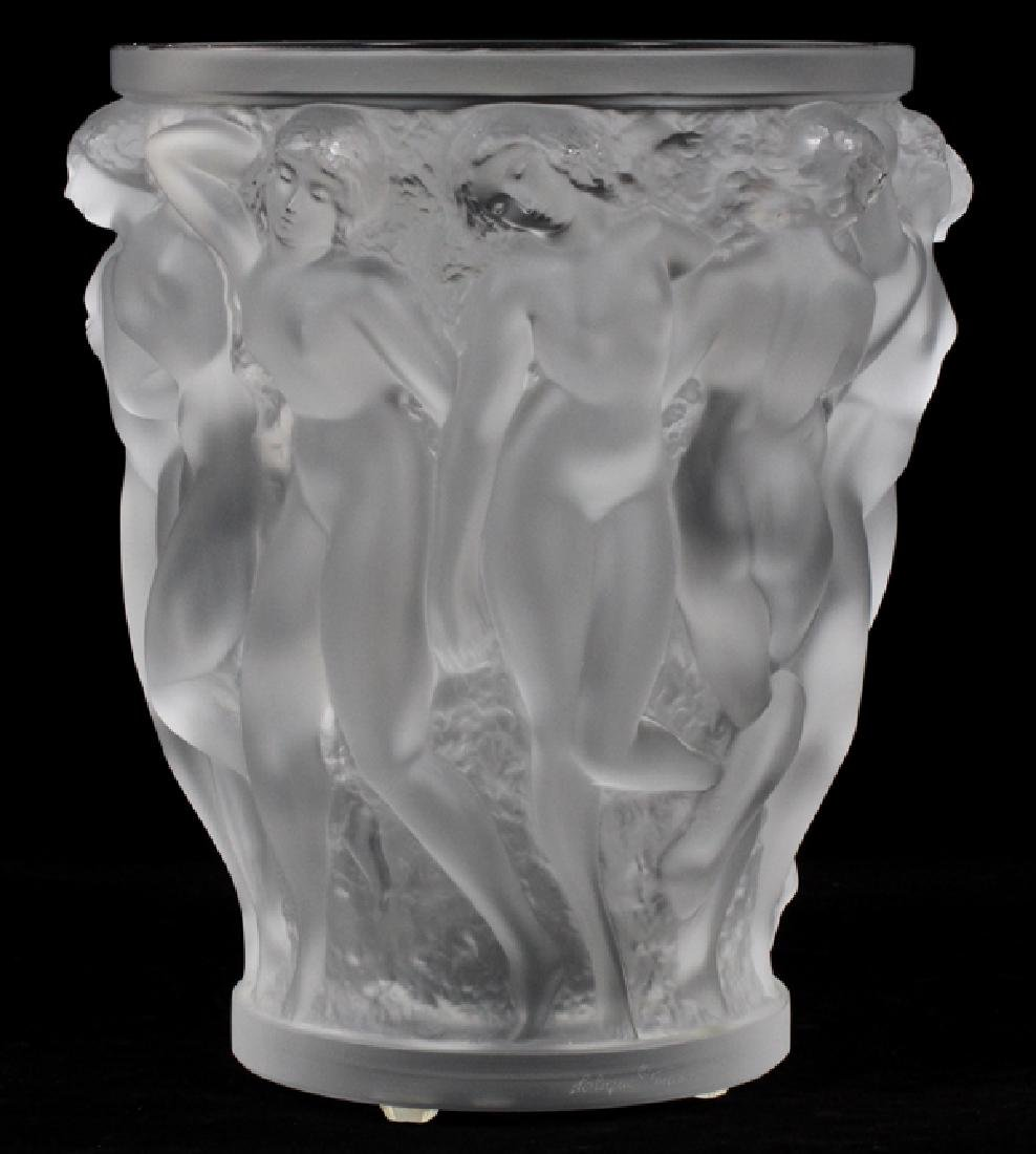 LALIQUE 'BACCHANTES' FROSTED GLASS VASE