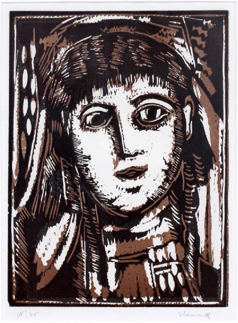 MAURICE DE VLAMINCK WOODCUT IN COLOR 1922