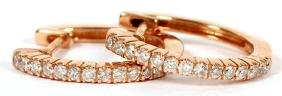 14kt Gold And Pave Diamonds Hoop Earrings Pair